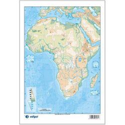 Mapes muts colors 230x330 mm. Àfrica física. Bloc 50 unitats