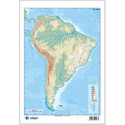 Mapes muts colors 230x330 mm. Amèrica Sud física. Bloc 50 unitats