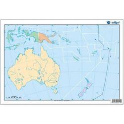 Mapes muts colors 330x230 mm. Oceania política. Bloc 50 unitats