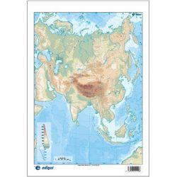 Mapes muts colors 230x330 mm. Asia física. Bloc 50 unitats