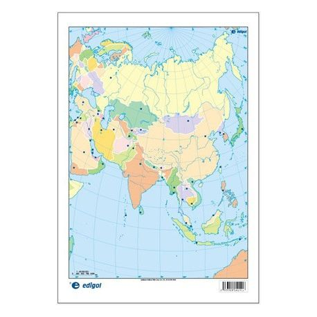 Mapas mudos colores 230x330 mm. Asia política. Bloque 50