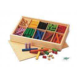 Regletes colors fusta secció 10x10 mm. Capsa 300 peces