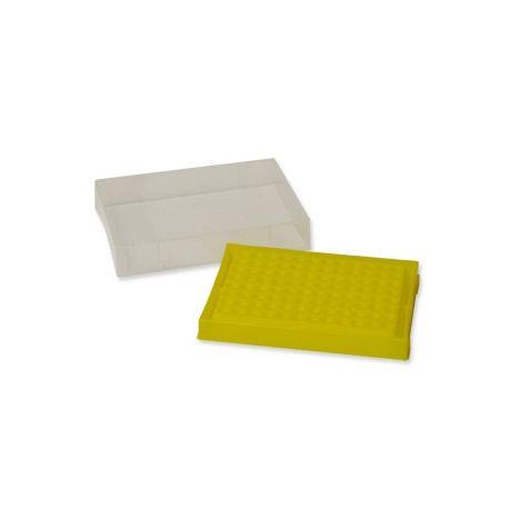 Caja plástico PP congelar microtubos PCR. Capacidad 96x0'2 ml