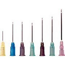 Agujas hipodérmicas desechables estériles 0'8x25 mm (21G). Caja