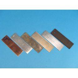 Electrodo cobre (Cu). Lámina rectangular 25x85 mm