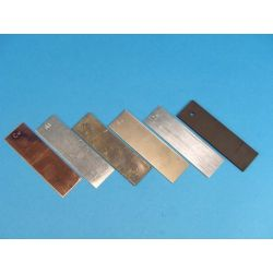 Electrodo zinc (Zn). Lámina rectangular 25x85 mm