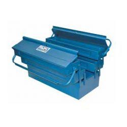 Caja herramientas metálica con 5 departamentos. Medidas