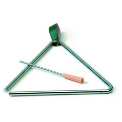 Triángulo acero con batidor y apoyo. Medidas 200x200 mm