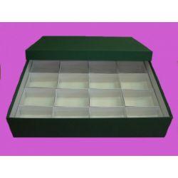 Caja minerales cartón alta 16 piezas. Compartimentos 95x70x75 mm