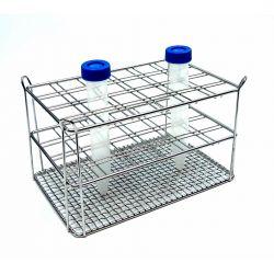 Gradilla tubos centrifugadora acero inoxidable. Capacidad 48x15 ml