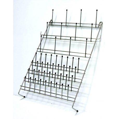 Escurridor colgante acero inoxidable 450x570 mm. Capacidad 48 terminales