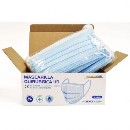 Mascaretes quirúrgiiques tipus IIR color blau. Capsa 30x50 unitats