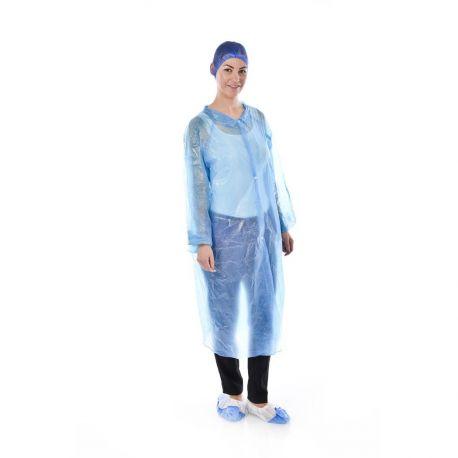 Batas desechables TST azul 25 gramos velcro anterior. Caja 50 unidades