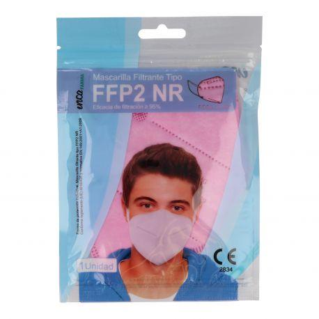 Mascarillas autofiltrantes partículas FFP2 rosas sin válvula. Pack 20 unidades
