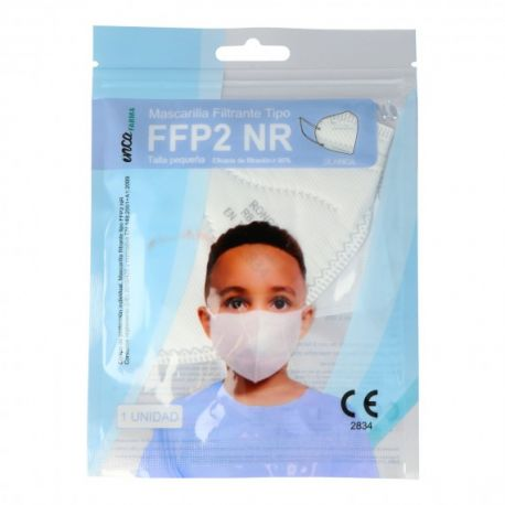 Mascarillas autofiltrantes infantiles FFP2 sin válvula. Pack 20 unidades