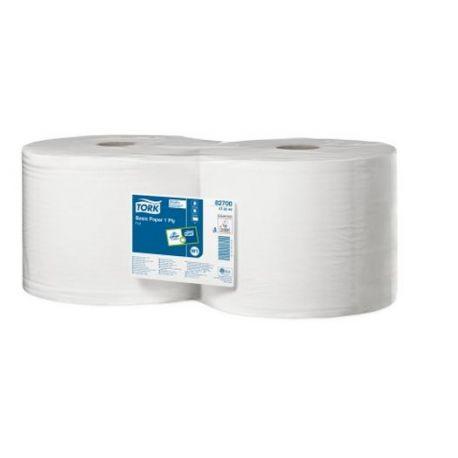 Bobinas papel  limpiar celulosa pura 2 capas Tork. Paquete 2x825 metros