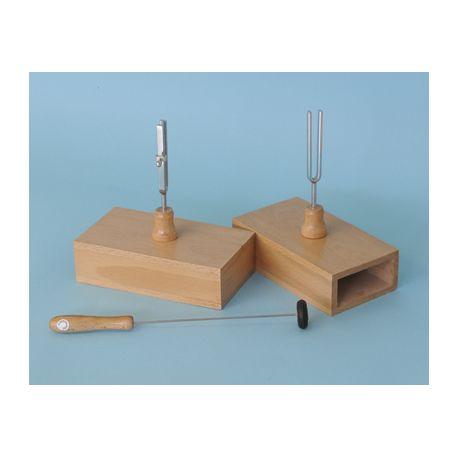 Diapasones con caja resonancia QLD-006. Frecuencias 426'6 y 426'6 Hz con afinador