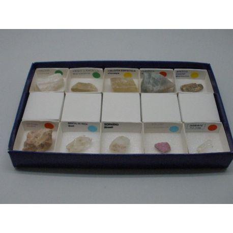 Escala dureza de Mohs 40X40 mm. Caja 10 minerales