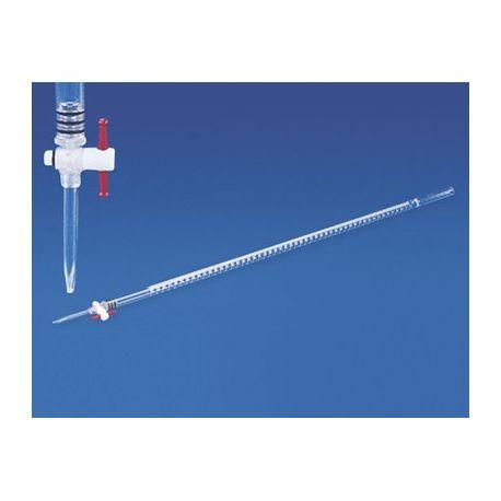 Bureta plàstic PMMA aixeta PTFE graduada 0'1 ml. Capacitat 25 ml