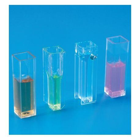 Cubetes espectrofotòmetre plàstic PMMA pas 10 mm 1'5 ml. Capsa 100 untats