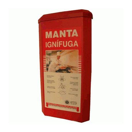 Manta apagafuegos ignífuga en caja mural. Medidas 1200x1200 mm