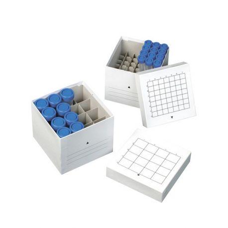 Caja congelar tubos centrifugadora cartón. Capacidad 49x15 ml