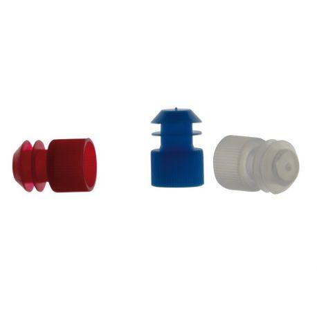 Tapones tubo ensayo plástico PE aletas 16 mm. Bolsa 1000 unidades