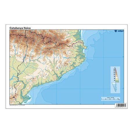 Mapes muts colors 325x225 mm. Catalunya física. Bloc 50 unitats
