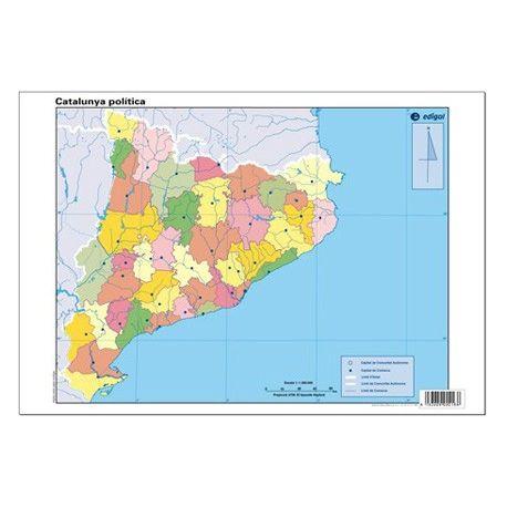 Mapas mudos colores 330x230 mm. Cataluña política. Bloque 50 unidades