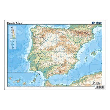 Mapas mudos colores 330x230 mm. Pen. Ibérica física. Bloque 50 unidades