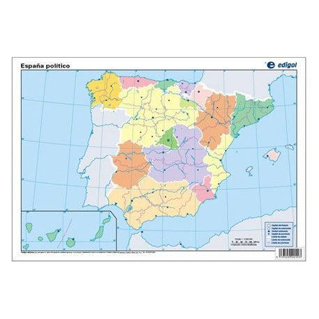 Mapes muts colors 330x230 mm. Pen. Ibèrica política. Bloc 50 unitats