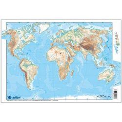 Mapes muts colors 330x230 mm. Mapamundi físic. Bloc 50 unitats