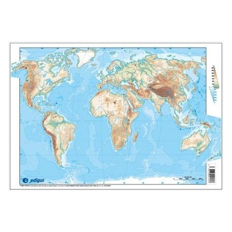 Mapas mudos colores 330x230 mm. Mapamundi físico. Bloque 50 unidades