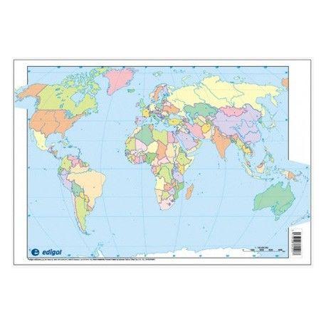 Mapas mudos colores 330x230 mm. Mapamundi político. Bloque 50 unidades