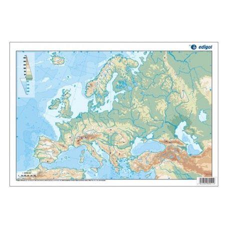 Mapas mudos colores 330x230 mm. Europa física. Bloque 50 unidades