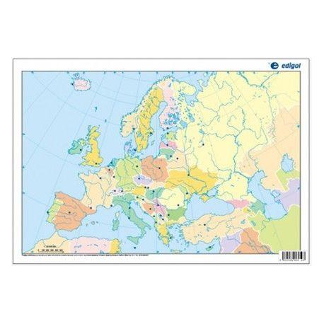 Mapas mudos colores 330x230 mm. Europa política. Bloque 50 unidades