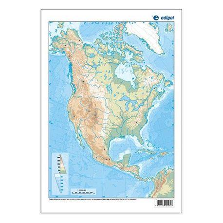 Mapas mudos colores 230x330 mm. América Norte física. Bloque 50 unidades
