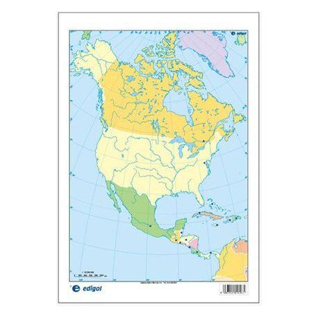 Mapas mudos colores 230x330 mm. América Norte política. Bloque 50 unidades