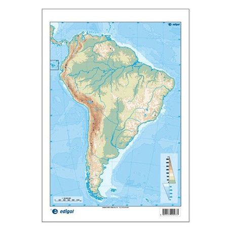 Mapas mudos colores 230x330 mm. América Sur física. Bloque 50 unidades