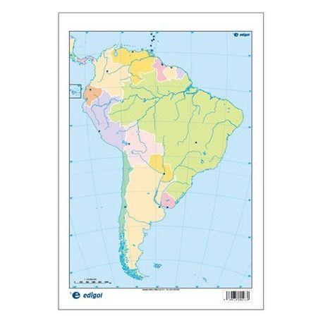 Mapas mudos colores 230x330 mm. América Sur política. Bloque 50 unidades