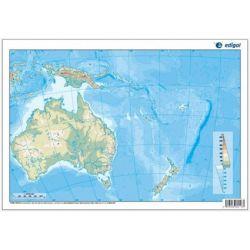 Mapas mudos colores 330x230 mm. Oceanía física. Bloque 50 unidades