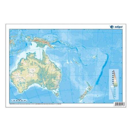 Mapes muts colors 330x230 mm. Oceania física. Bloc 50 unitats