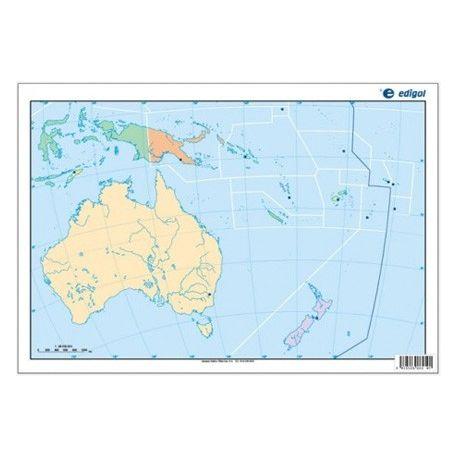 Mapas mudos colores 330x230 mm. Oceanía política. Bloque 50 unidades