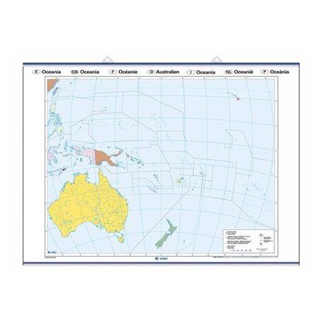 Mapa mural mudo rotulable 1000x1400 mm. Oceanía
