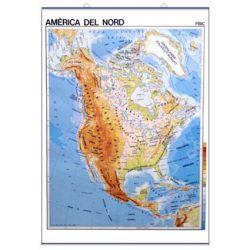 Mapa mural fisicopolític 900x1180 mm. Amèrica del Nord