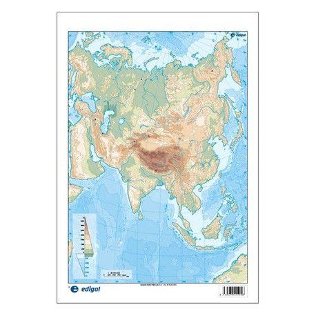 Mapas mudos colores 330x230 mm. Asia física. Bloque 50 unidades