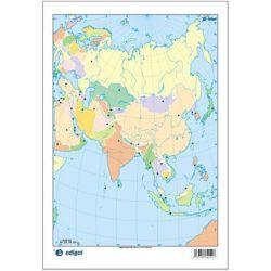 Mapes muts colors 230x330 mm. Àsia política. Bloc 50 unitats