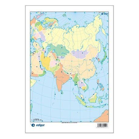 Mapas mudos colores 230x330 mm. Asia política. Bloque 50 unidades