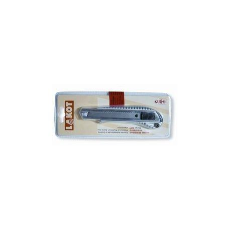 Cutter metálico inox autobloqueo con protector. Hoja 18 mm