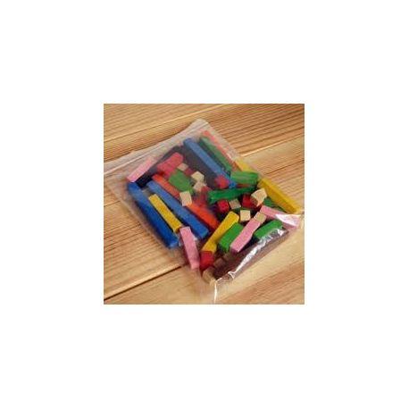 Regletes colors fusta secció 10x10 mm. Bossa 60 peces